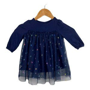 Baby Gap Dress Tulle Layered Polka Dot Navy 12-18M